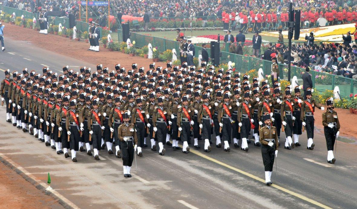 123 Infantry Battalion Territorial Army (Grenadiers) Marching Contingent passes through the Rajpath