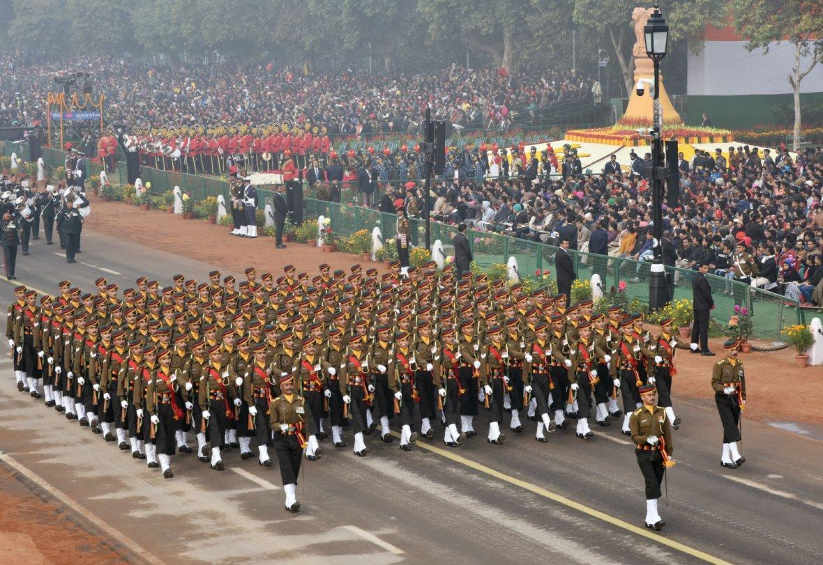 Dogra Regiment Marching Contingent passes through the Rajpath