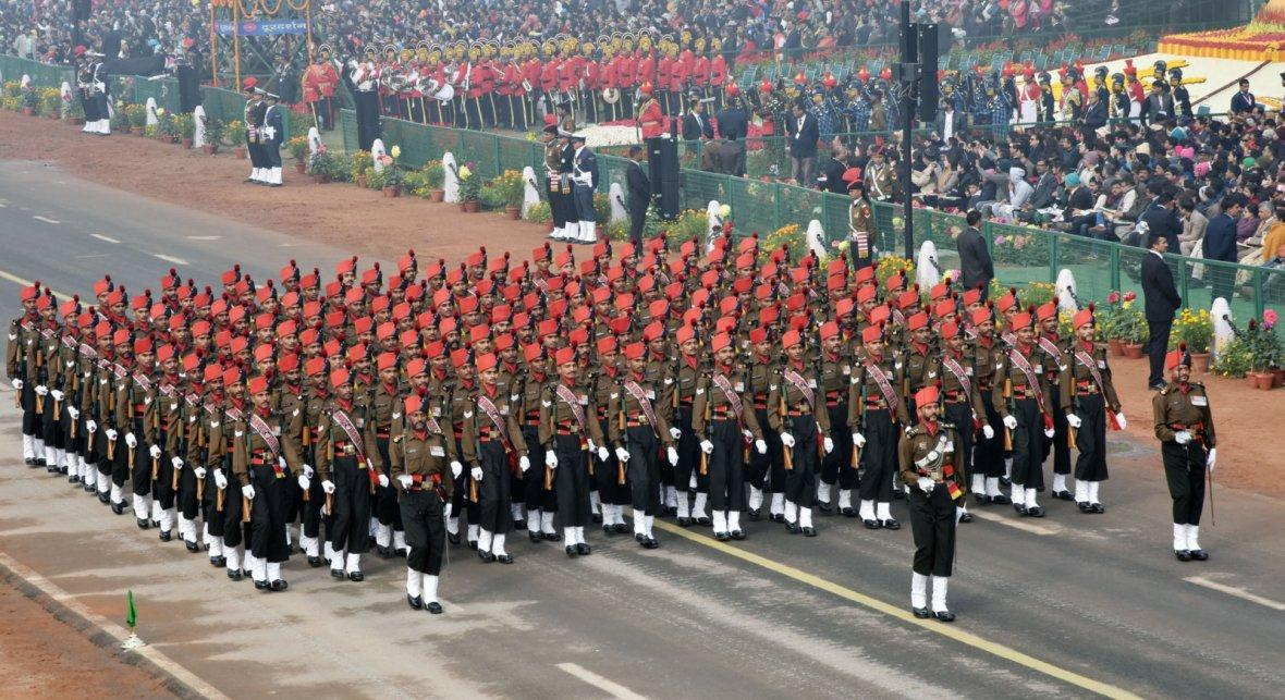Maratha Light Infantry Marching Contingent passes through the Rajpath