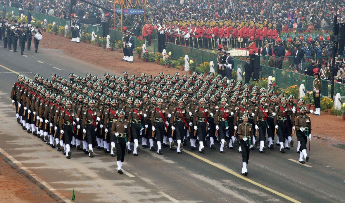 Punjab Regiment Marching Contingent passes through the Rajpath