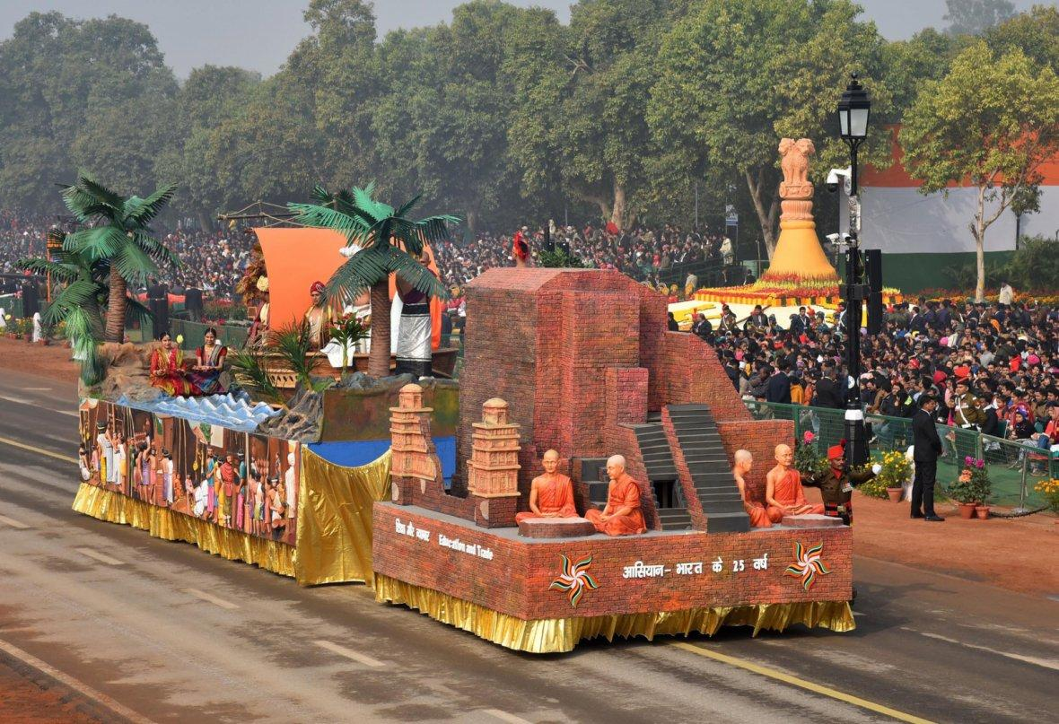 Tableau of Ministry of External Affairs showcasing ancient and strong bonding between India and ASEAN, passes through the Rajpath