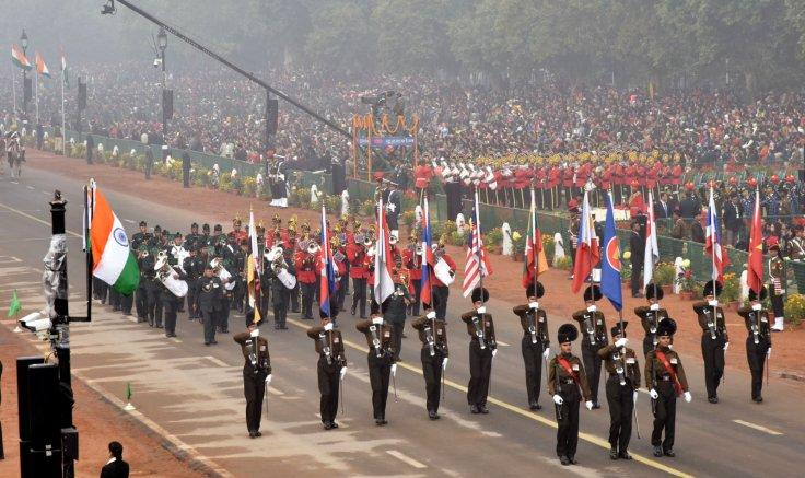 Indian Army band with ASEAN flag bearer contingent passes through the Rajpath