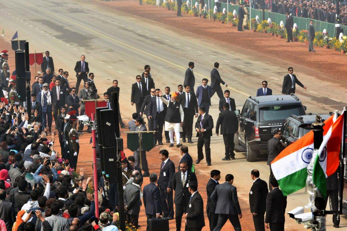Prime Minister  Narendra Modi, at Rajpath, on the occasion of the 69th Republic Day Parade 2018