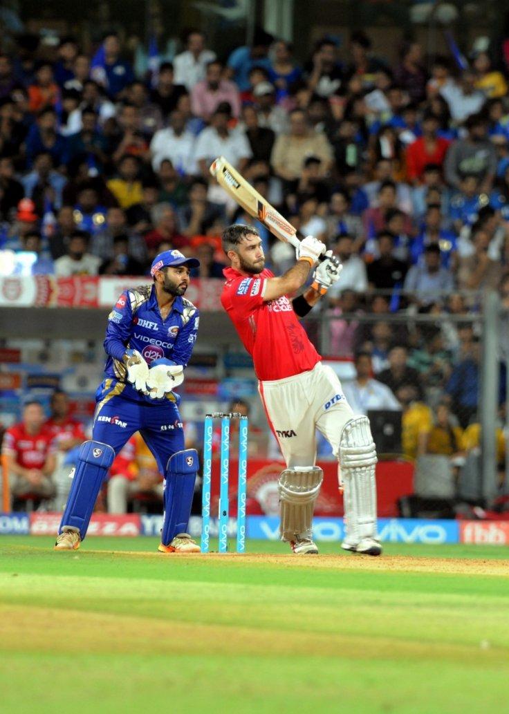 Glenn Maxwell of Kings XI Punjab in action during an IPL 2017 match between Mumbai Indians and Kings XI Punjab at Wankhede Stadium
