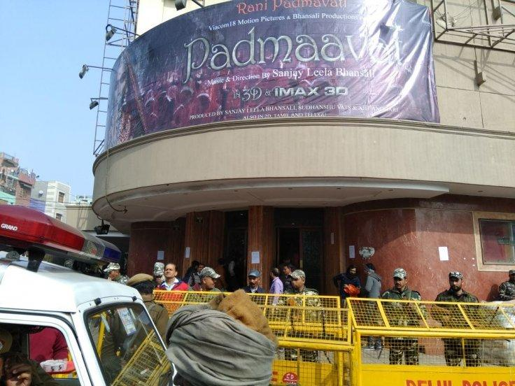 """Security beefed up outside a Delhi cinema hall in the wake of ongoing protests against the release of film """"Padmaavat"""""""
