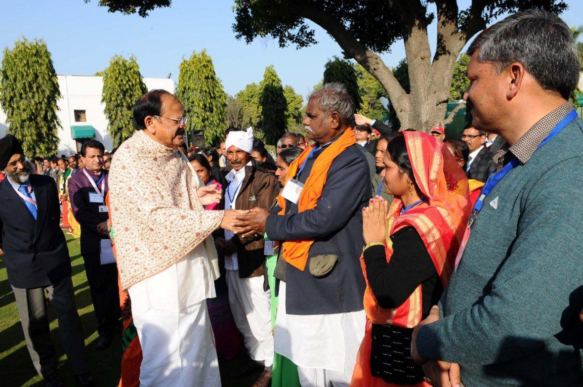 Vice President M. Venkaiah Naidu meeting the Tribal Guests who participated in the Republic Day Parade - 2018