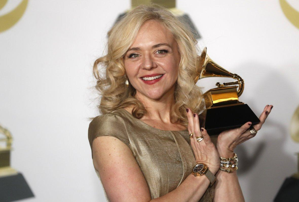 Rachel Bay Jones poses with the Grammy for Best Musical Theater Album for