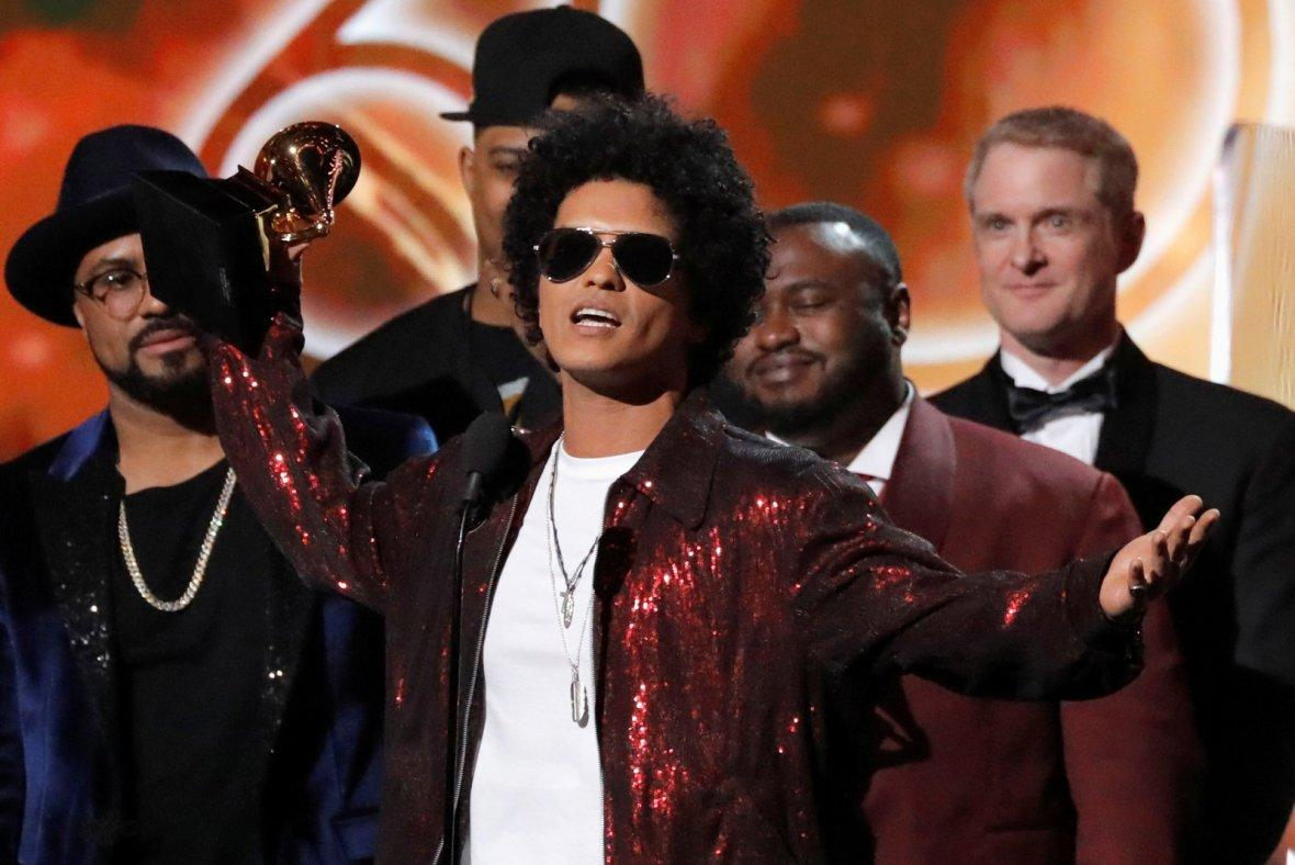 Bruno Mars accepts the Grammy for album of the year for