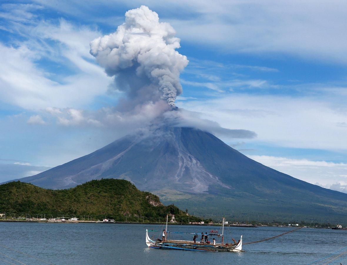 Mayon volcano erupts in Albay Province, the Philippines