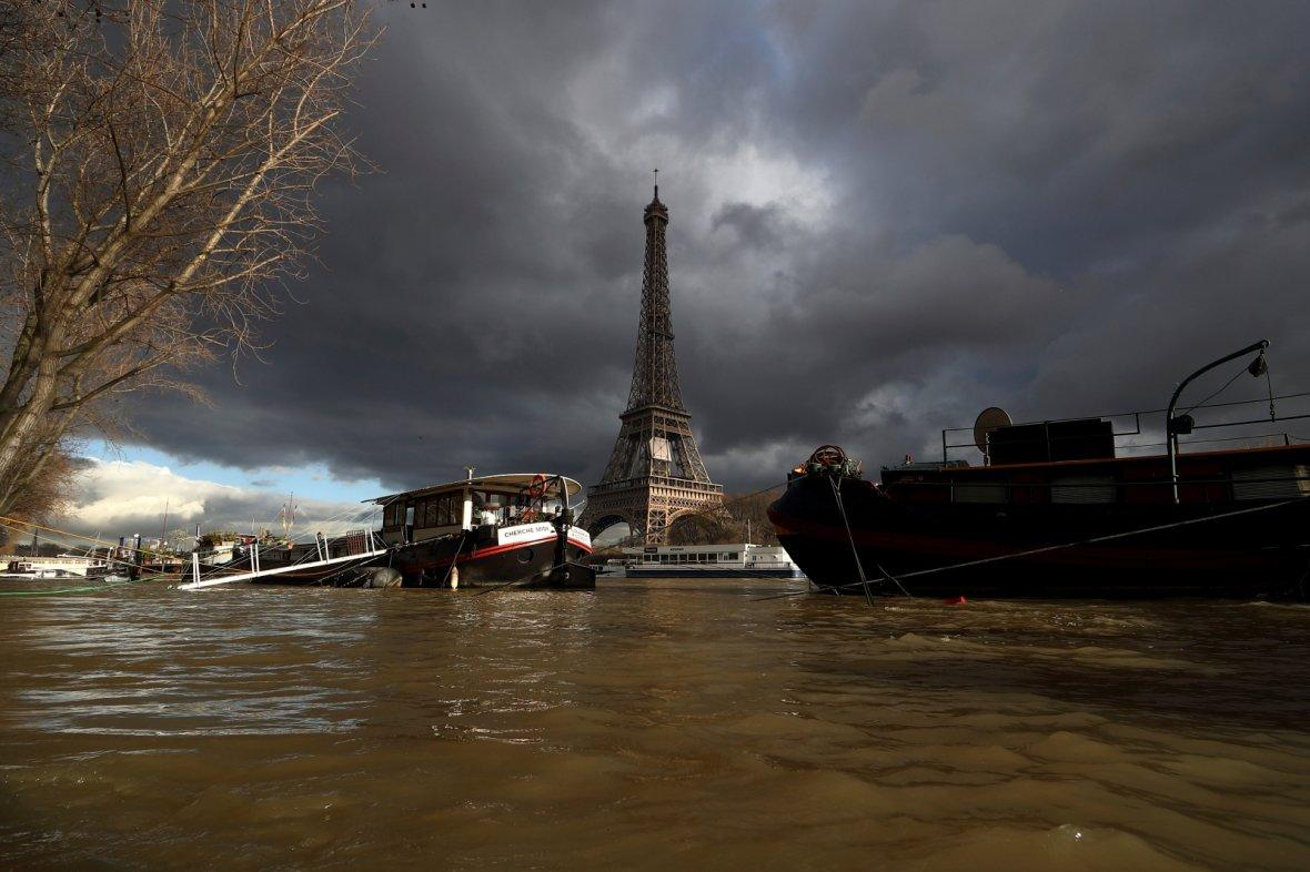 Eiffel Tower along the flooded banks of the River Seine after days of almost non-stop rain caused flooding in the country in Paris, France