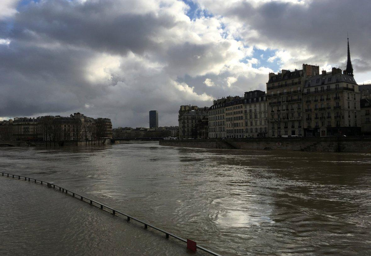 Seine River that overflows its banks as heavy rains throughout the country
