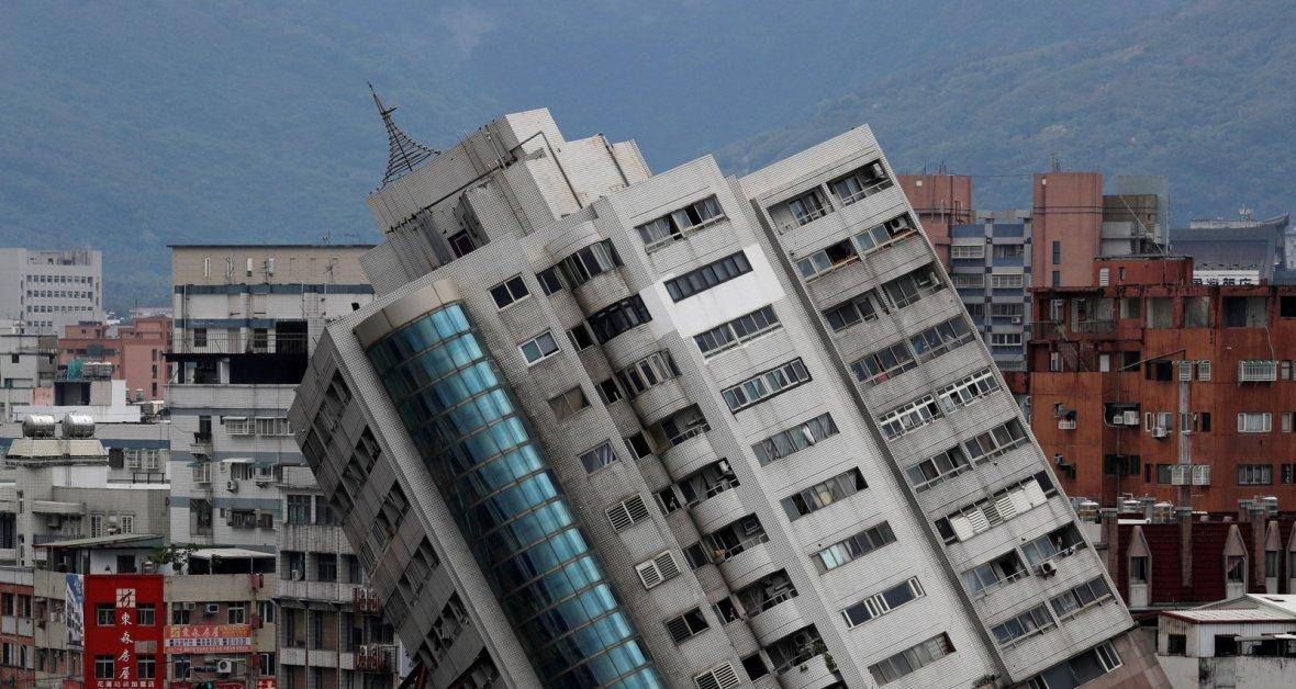 A damaged building is seen after an earthquake hit Hualien