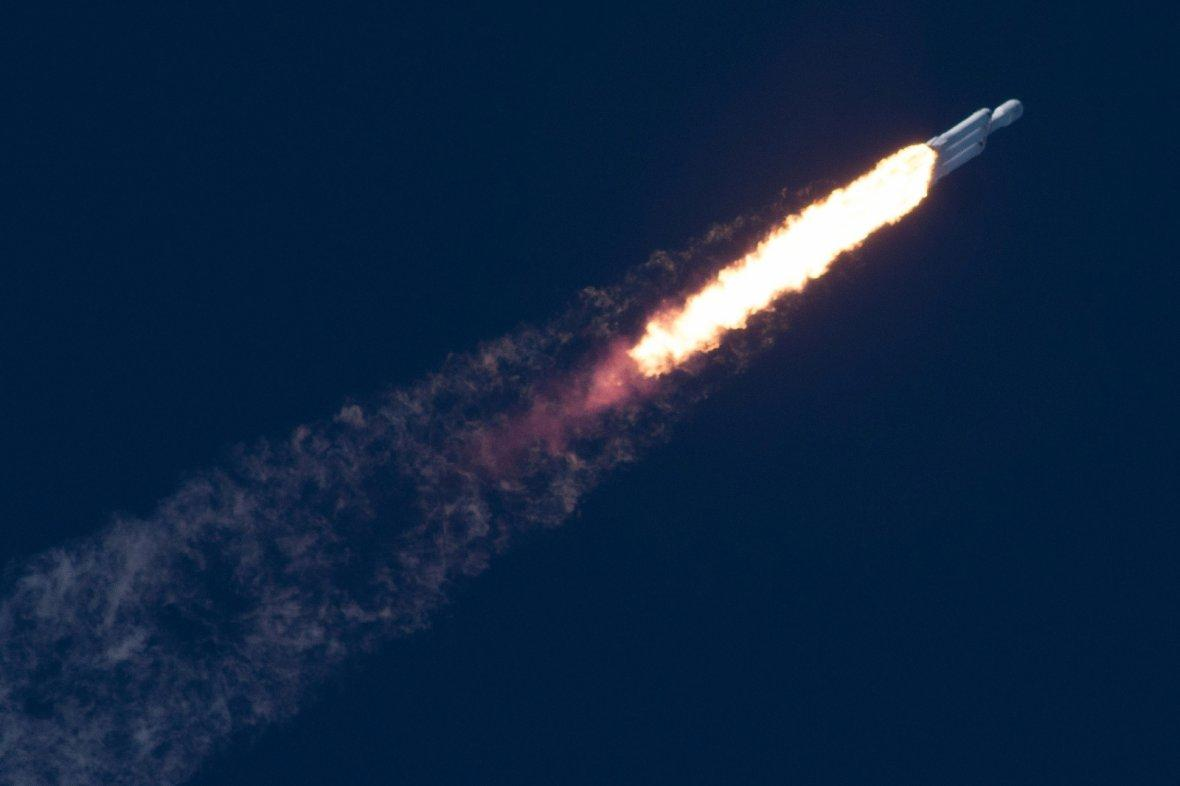A SpaceX Falcon Heavy rocket lifts off from the Kennedy Space Center in Cape Canavera