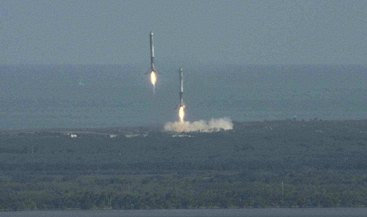 Boosters land after helping launch SpaceX Falcon Heavy rocket from the Kennedy Space Center in Cape Canaveral
