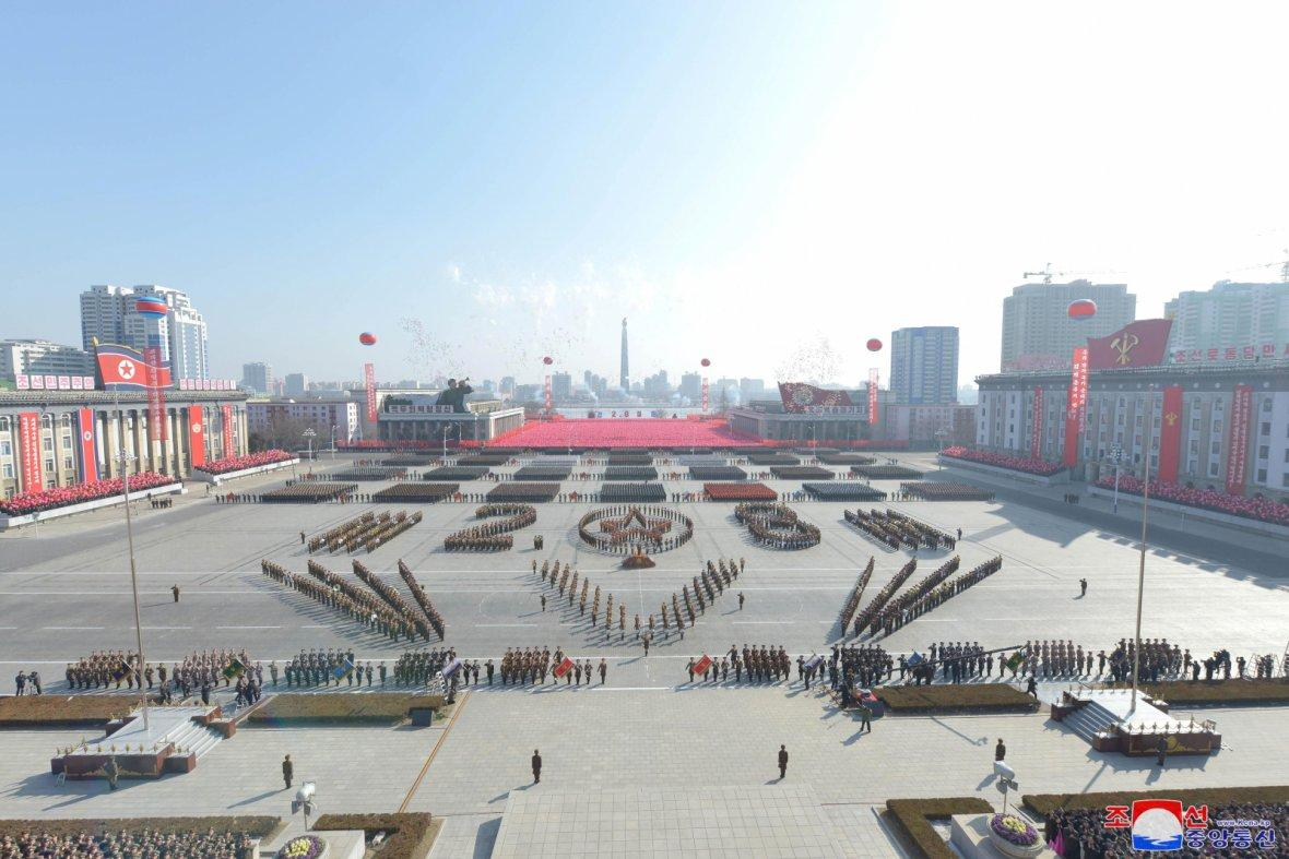 General view of a grand military parade celebrating the 70th founding anniversary of the Korean People