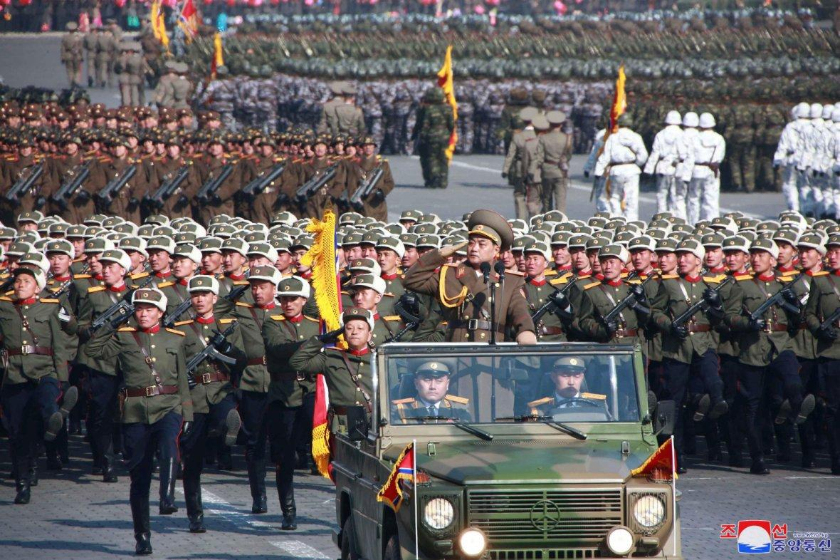 Soldiers attend a grand military parade celebrating the 70th founding anniversary of the Korean People's
