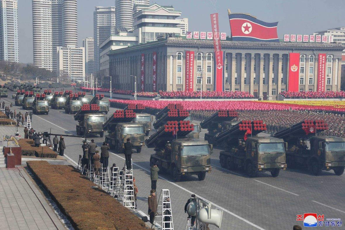 Military vehicles are seen at a grand military parade celebrating the 70th founding anniversary of the Korean People's Army