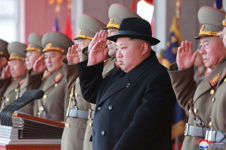 North Korean leader Kim Jong Un attends a grand military parade celebrating the 70th founding anniversary of the North Korean Army