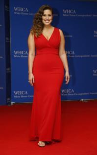 Model Ashley Graham arrives on the red carpet for the annual White House Correspondents Association Dinner