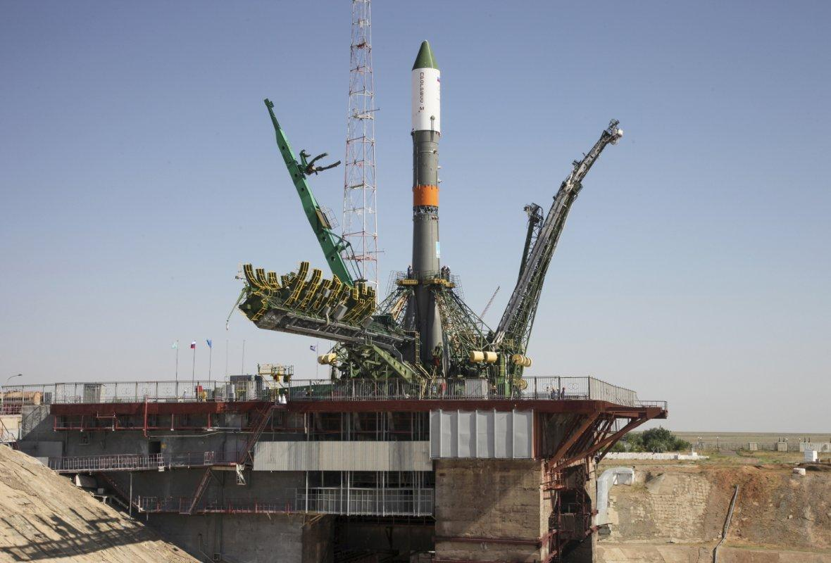 Russian Progress-M spacecraft is set on its launch pad at Baikonur cosmodrome, Kazakhstan