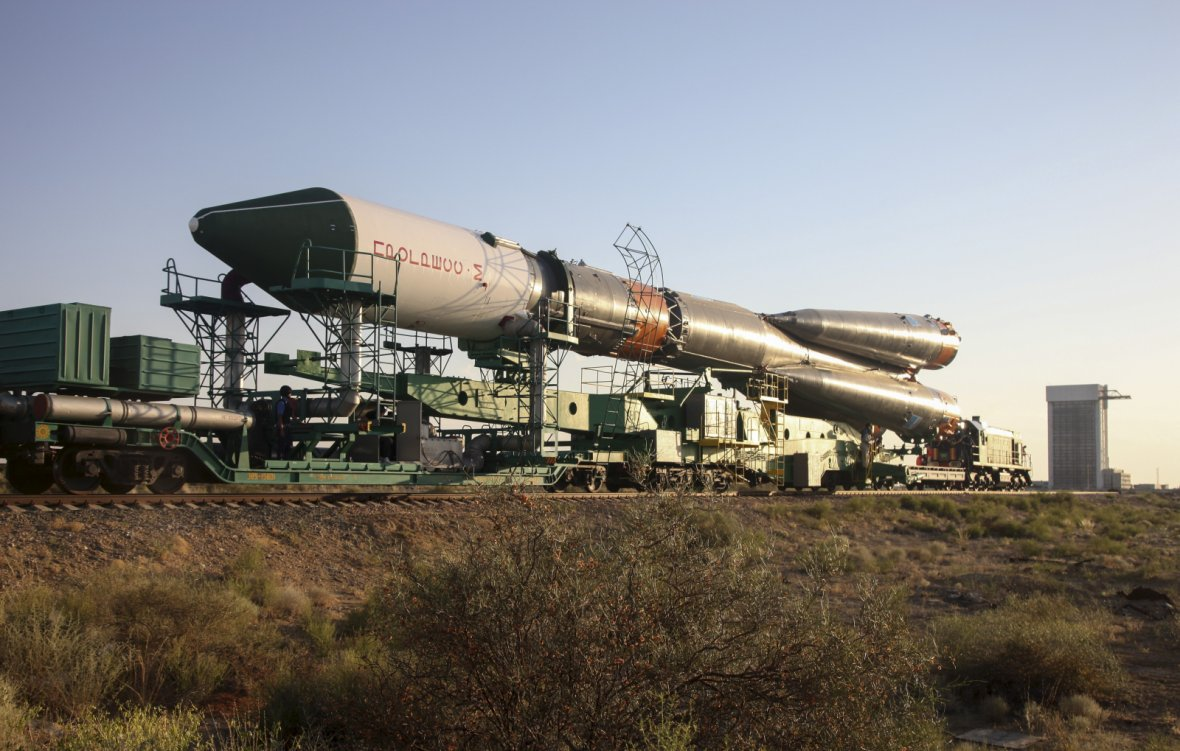 Russian Progress-M spacecraft is transported to its launch pad at Baikonur cosmodrome, Kazakhstan
