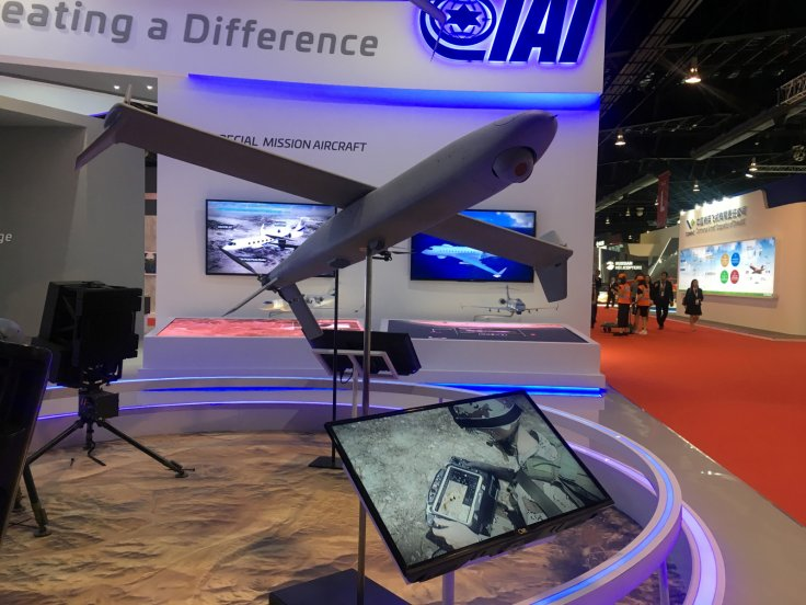 A drone model on display at the booth of Israeli drone maker Aeronautics Group at the Singapore Airshow