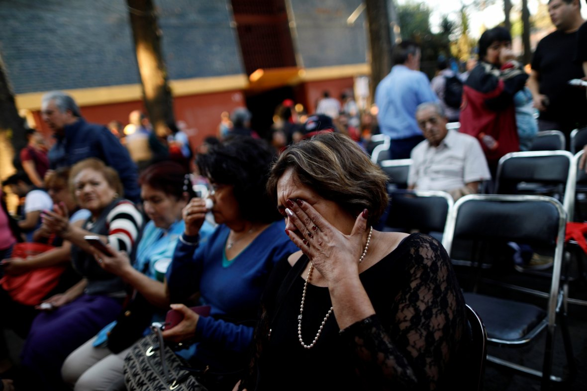 Mexico City, MexicoPeople react after an earthquake shook buildings in Mexico City