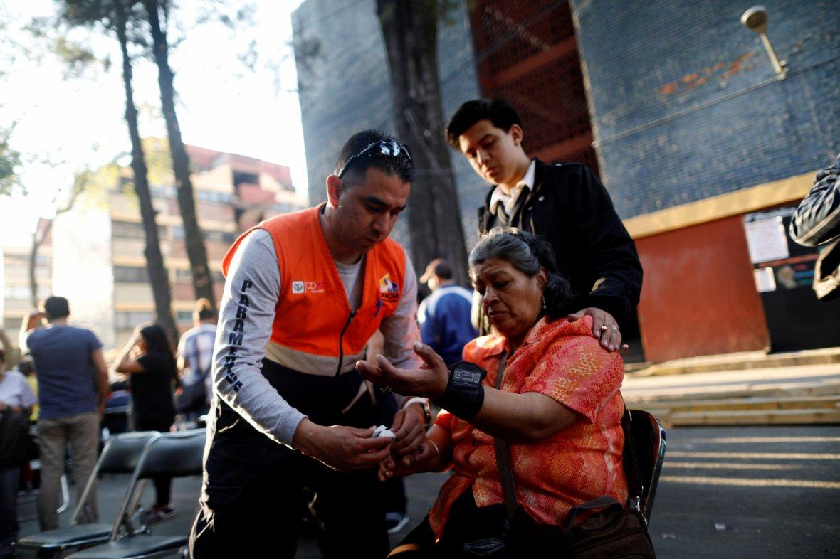 Mexico City, MexicoPeople react after an earthquake shook buildings in Mexico City, Mexico