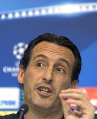 Unai Emery, speaks during a press conference following a training session in Sevilla, southern Spain