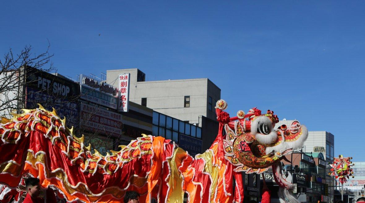 Dragon dancers march in the Flushing Lunar New Year Parade in Queens, New York