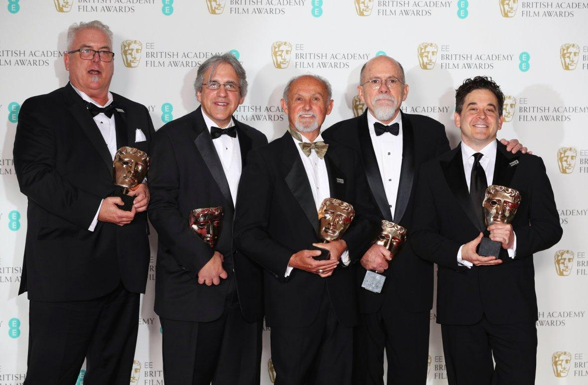 Rizzo hold their awards for Sound for the film Dunkirk at the British Academy of Film and Television Awards (BAFTA)