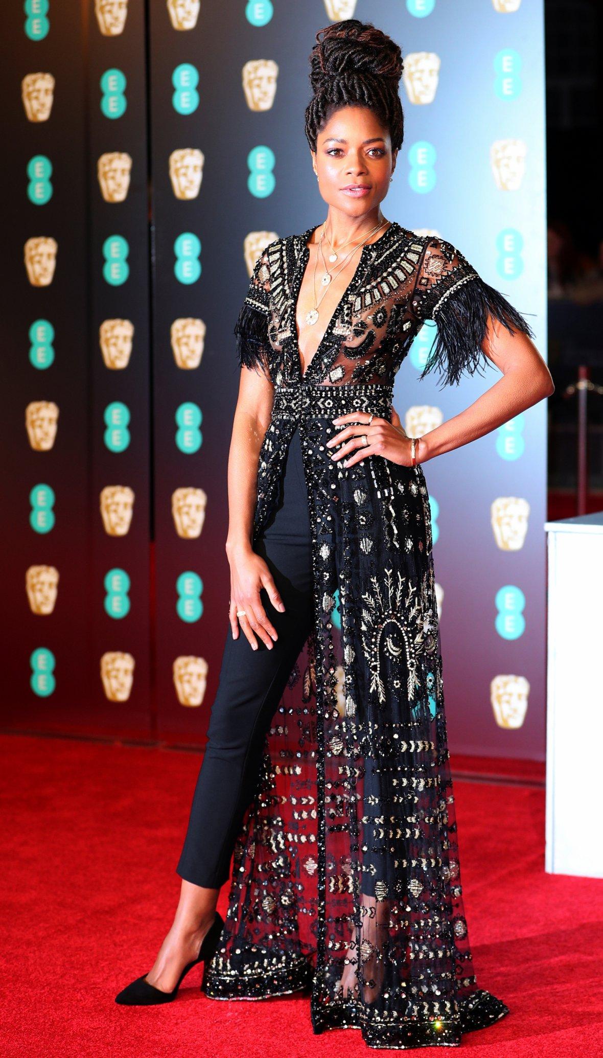 Presenter Naomi Harris poses at the British Academy of Film and Television Awards (BAFTA)