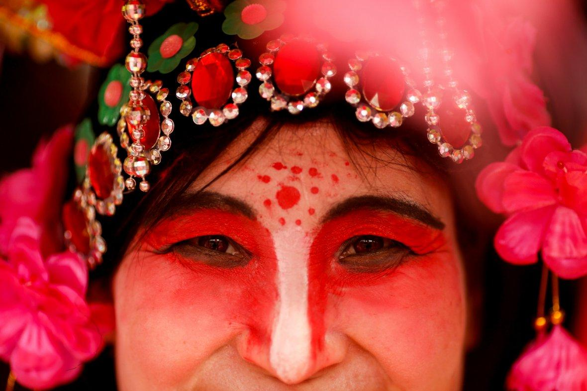 A performer wears a costume during Spring Festival celebrations marking Chinese New Year