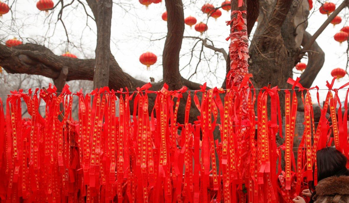 A woman reads ribbons at a wishing tree in Badachu park during Spring Festival celebrations marking Chinese New Year