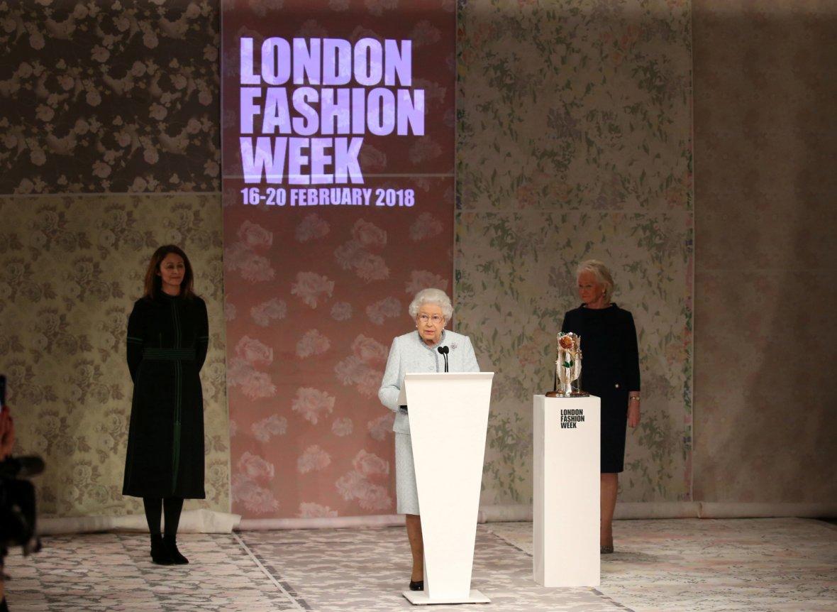 Britain's Queen Elizabeth II makes a speech before presenting the inaugural Queen Elizabeth II Award for British Design to Richard Quinn