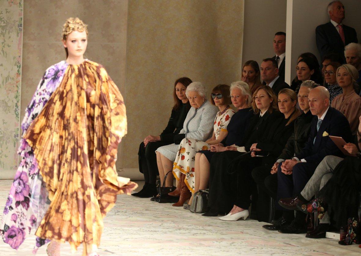 Britain's Queen Elizabeth II attends the Richard Quinn show at London Fashion Week