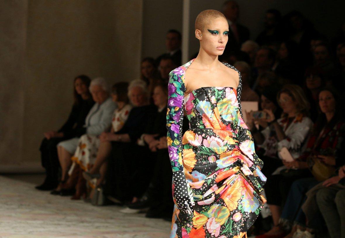 Model Adwoa Aboah displays a creation during the Richard Quinn show at London Fashion Week