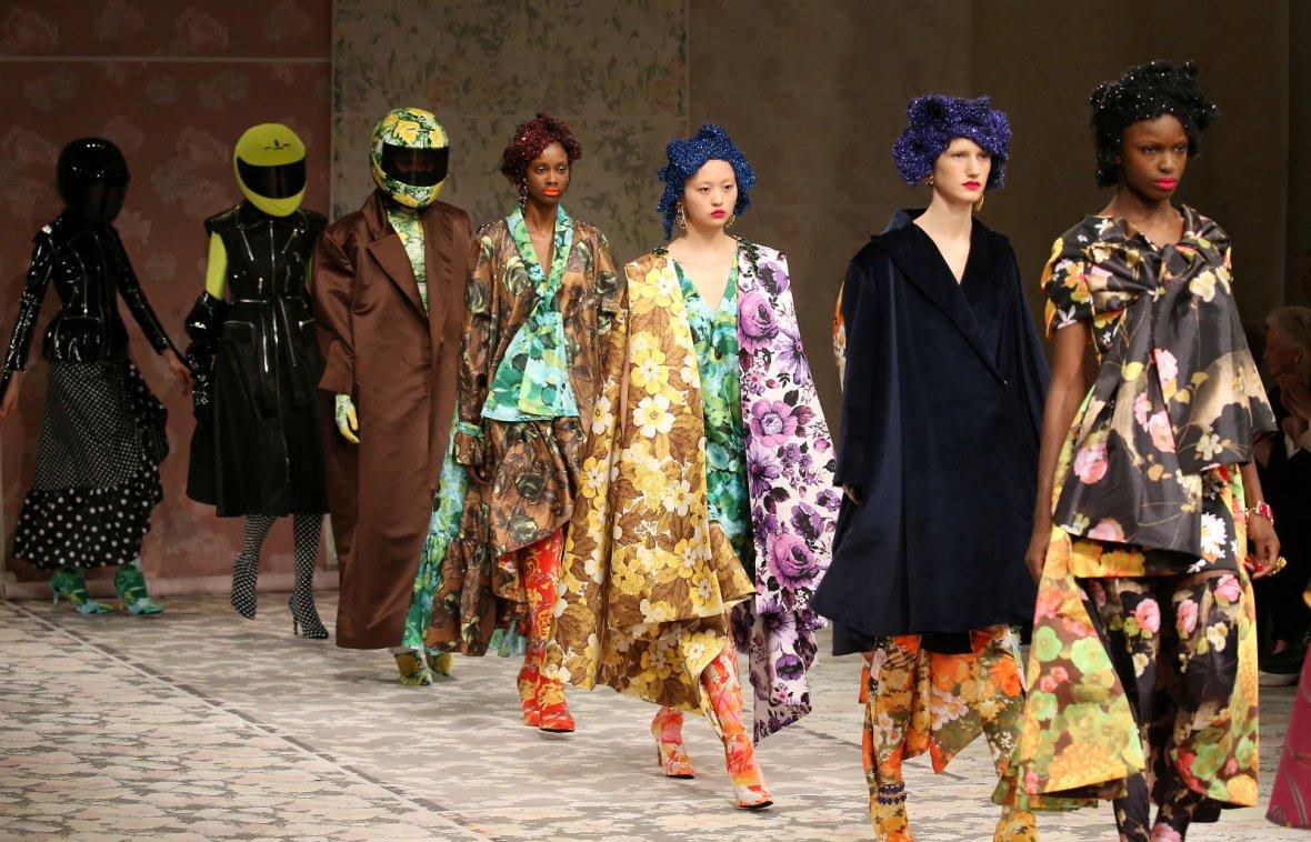 London, United KingdomModels display creations during the Richard Quinn show at London Fashion Week