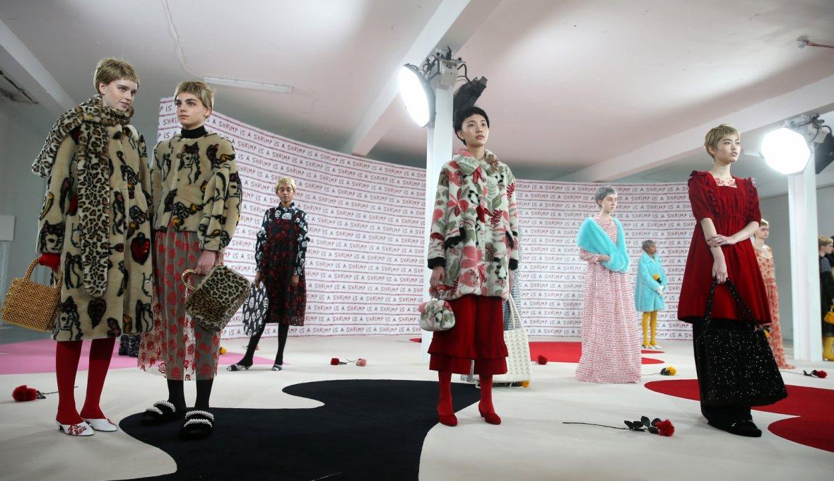 Models displays creations during the Shrimps presentation at London Fashion Week