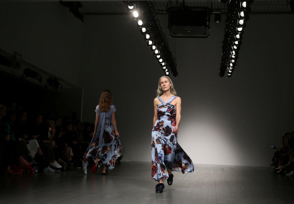 A model displays a creation during the Teatum Jones show at London Fashion Week