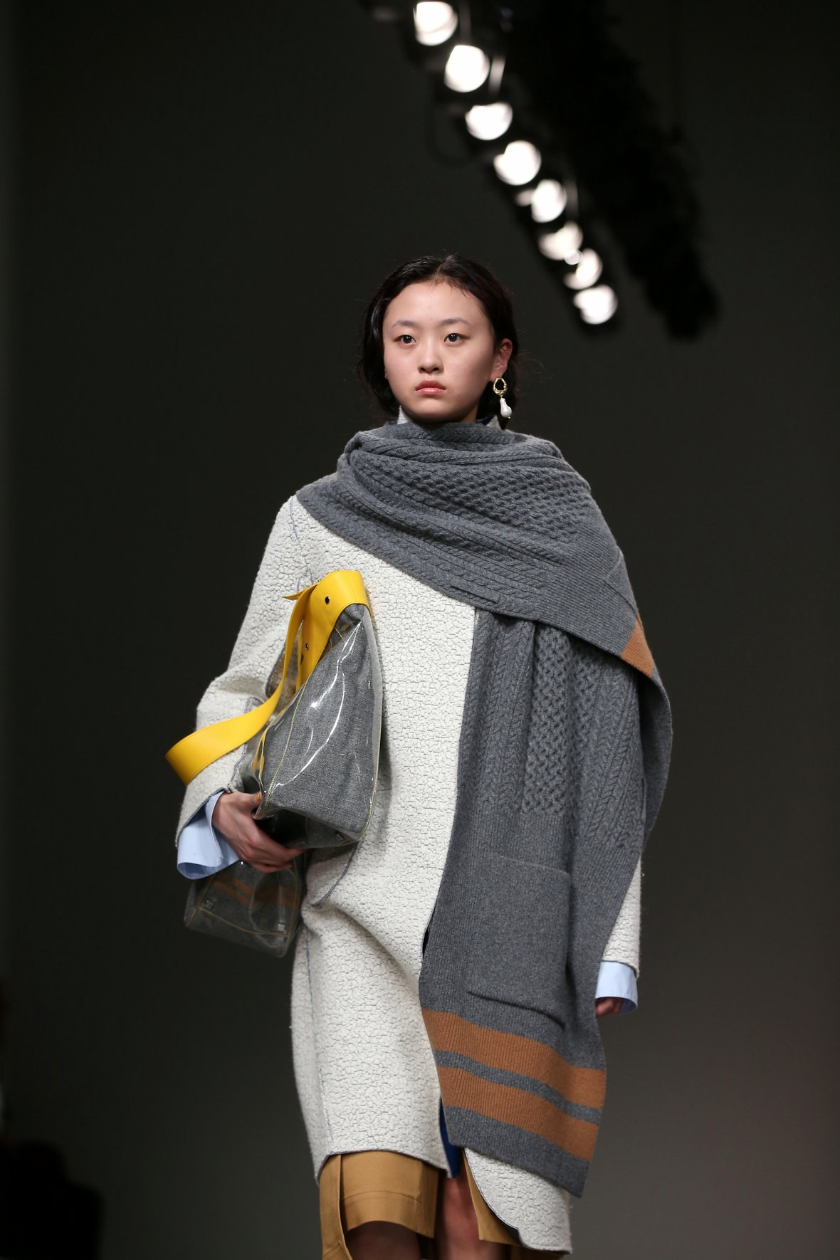 A model displays a creation during the Eudon Choi show at London Fashion Week, in London, Britain February 20, 2018.
