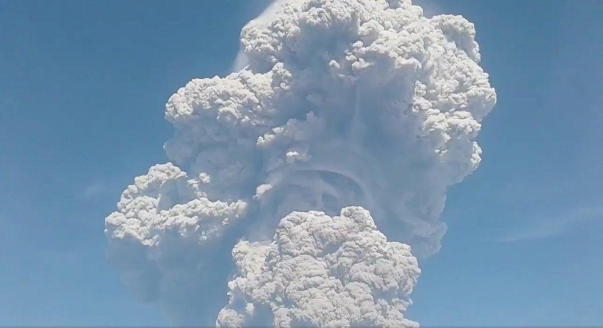 Ash from Mount Sinabung rises during an eruption, Indonesia February 19, 2018, in this still image taken from a social media video.
