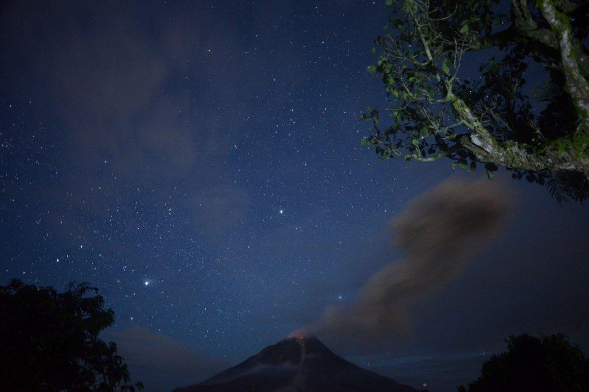 Mount Sinabung volcano spews volcanic ash in Karo, North Sumatera, Indonesia