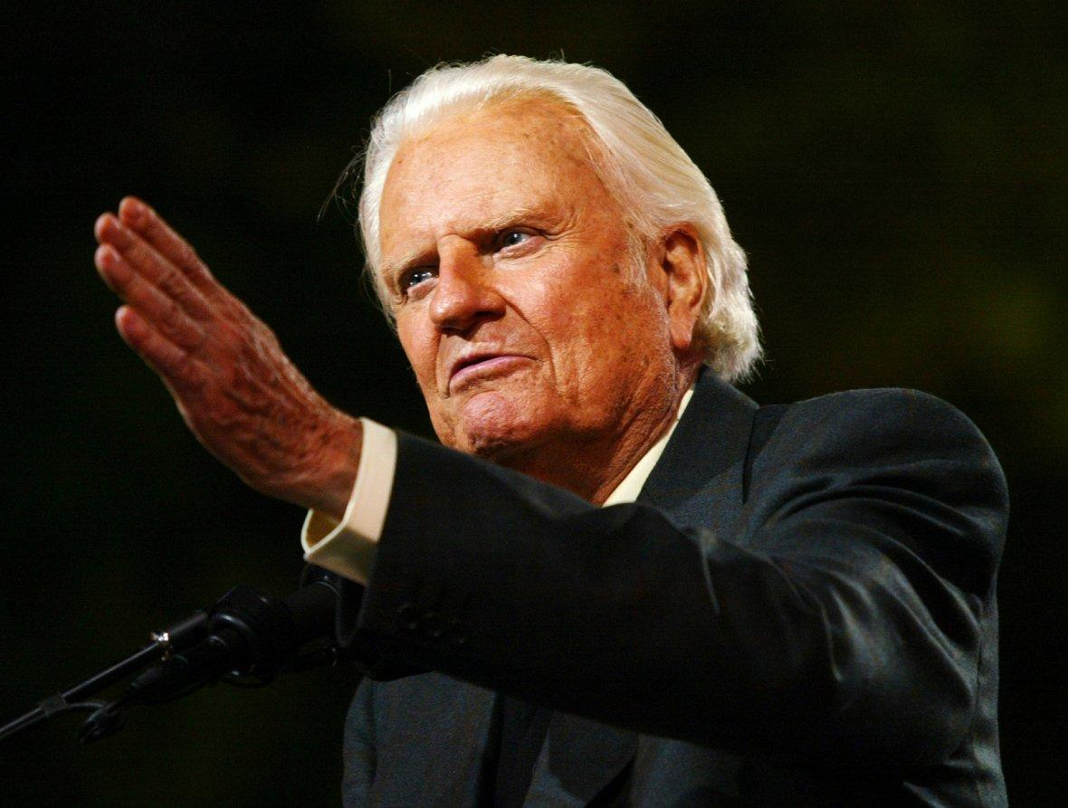 Billy Graham speaks to thousands during his New York Crusade at Flushing Meadows Park in 2005