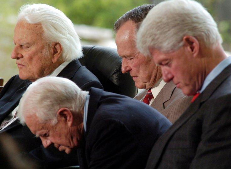 Evangelist Billy Graham and three former United States presidents; George H.W. Bush, Jimmy Carter and Bill Clinton