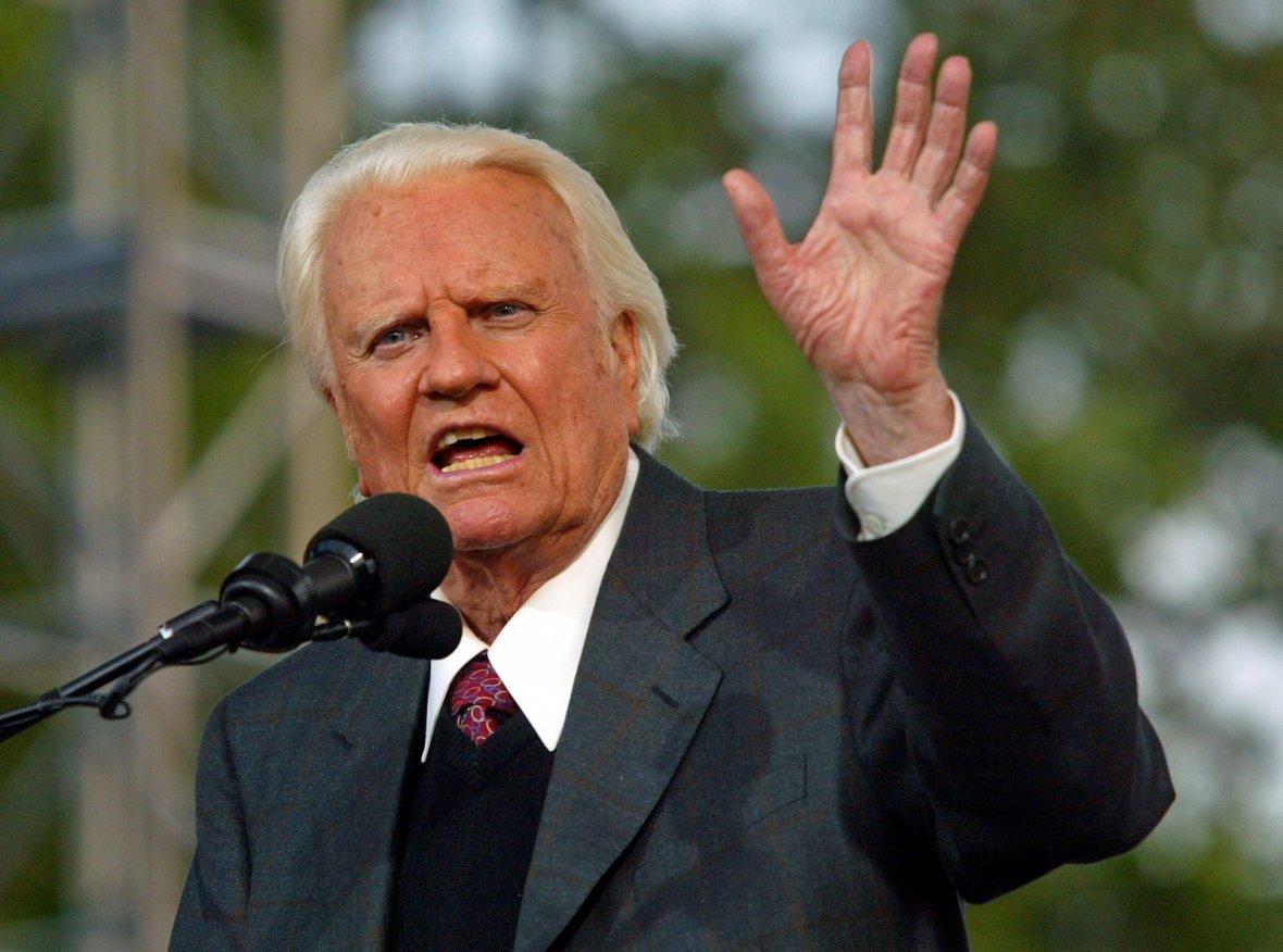 Evangelist Billy Graham speaks during his Crusade at Flushing Meadows Park in New York June