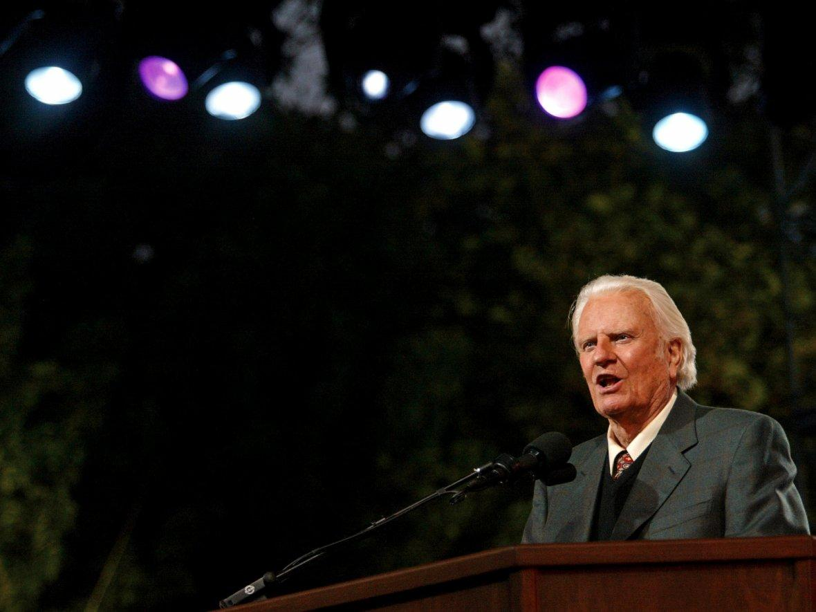 Evangelist Billy Graham speaks during his New York Crusade at Flushing Meadows Park