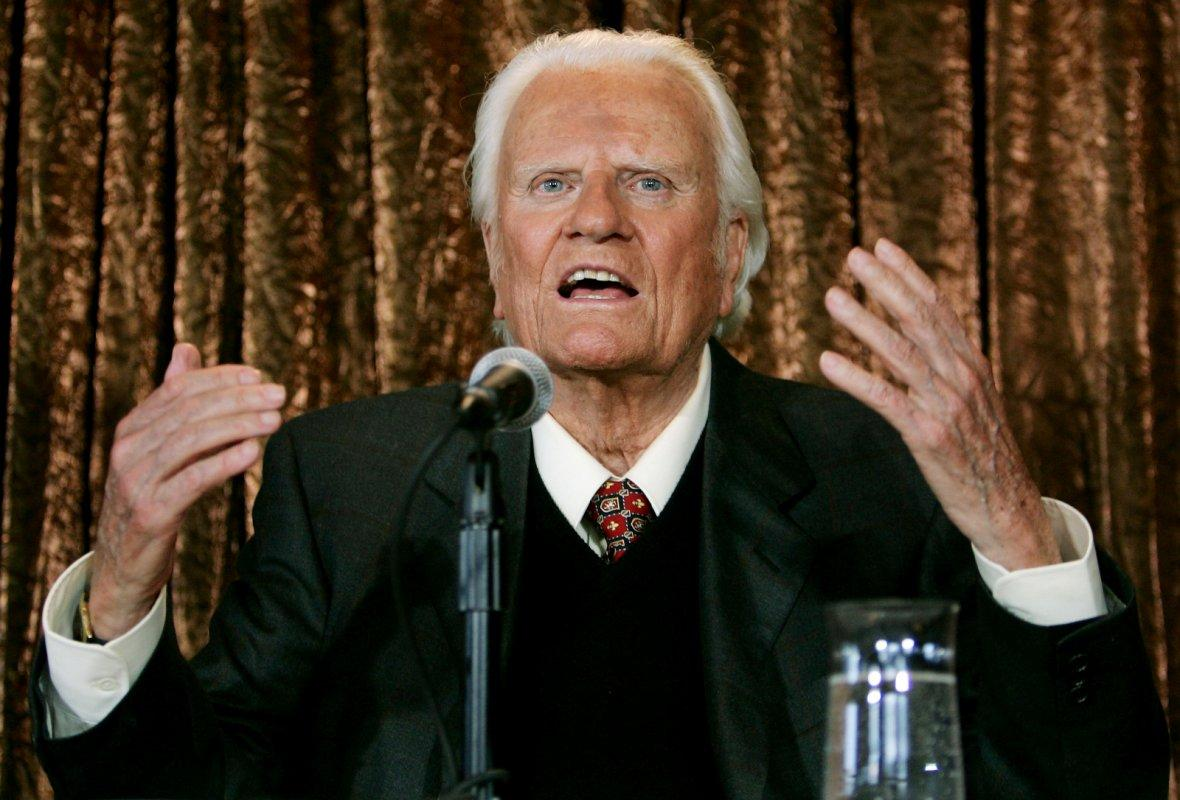 Evangelist Billy Graham speaks to members of the media at a news conference in New York
