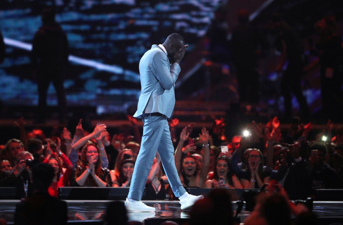 Stormzy accepts the award for best British Male Artist