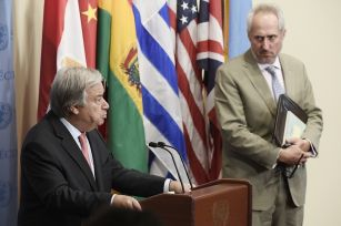 United Nations Secretary-General Antonio Guterres, left, with his spokesperson, Stephane Dujarric